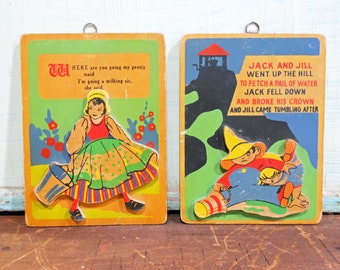 Vintage Wooden Nursery Rhyme Wall Plaques with Wooden Cutouts Jack and Jill and Pretty Maid