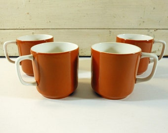 Set of 4 Vintage Diner Coffee Cups Orange Brown and White, Tierra Ironstone