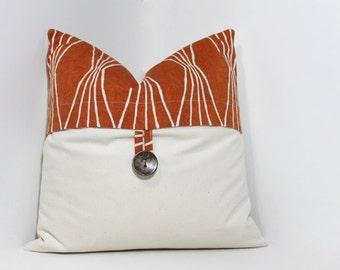 Button pillow cover. Orange geometric Robert Allen Design & natural ivory pillow cover home decor accent.