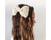 Cream knit bow clip, chunky knit large bow