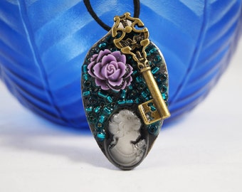 Large Spoon Jewelry, Cameo Jewelry, Art Pendant, Victorian Bead Pendant, Art Pendant, Flower and Key Necklace, Ornament