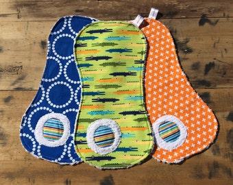 Crocodile /Orange/Blue Boy Burp Cloth Set for Baby/