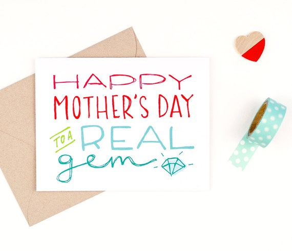 mother's day card - real gem - recycled paper