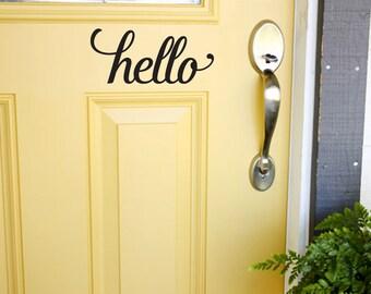 Front Door Decal, Personalized Decal, Custom Vinyl Lettering, Hello Vinyl Decal for Door, Wall Art