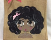 Handpainted Personalised Groovy Afro Chic Girl Jute Handbag Gift Bag Hen Party Celebrity Style