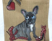 Handpainted Personalised French Bulldog Cartoon Style Dog with Red Stilletos Jute Handbag Gift Bag Hen Party Celebrity Styl