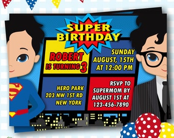 Superman Birthday Invitation, Superhero Invitations, Superman Invites, Superhero Party, Superman Birthday Party, Digital Invitations - #S09