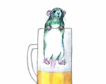 Beer Illustration Pet Rat Art Original Watercolor Painting Whimsical Animal Art Original Painting Home Bar Decor Gift For Rat Lovers