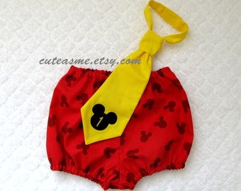 Cake Smash Birthday 2 Piece Outfit Mickey Mouse Diaper Cover Tie Mickey Bloomers Infant Toddler First Birthday Boy Birthday Mickey Mouse