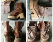 Vtg 1990s London Underground club kid ravers Leather and wood platform lace-up boots Sz 9