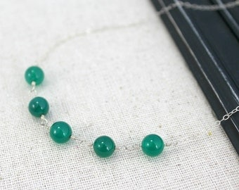 AAA Green Onyx and Sterling Silver Necklace / Summer Jewelry / Wedding / N22
