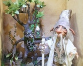 final installment Reserved for Lisa//Ogden Mini Troll Wizard, ooak Troll Art Doll measures 6 1/2 inches tall keeper of the secret library