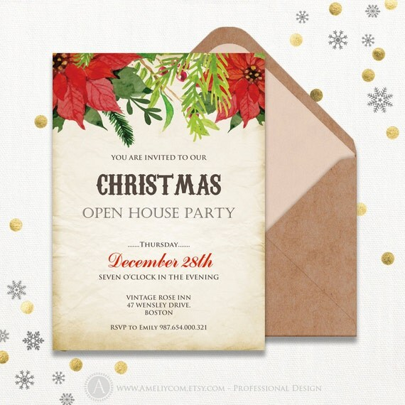 items similar to printable holiday open house invitations poinsettia christmas party. Black Bedroom Furniture Sets. Home Design Ideas