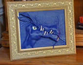 SALE! Hand Sculpted Leather Dragon Royal Blue 3D Wall Art Framed Picture Portrait