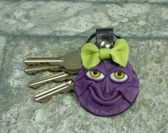 Key Ring Hand Made Leather Fob With Face Eye Key Purse Charm Purple Harry Potter Labyrinth Monster