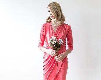 Maxi wrap coral dress, Formal coral gown with long sleeves 1034