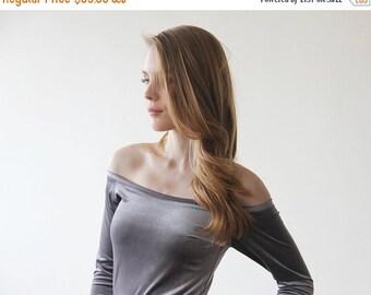 Grey velvet off-shoulder top , Long sleeves velvet blouse, Grey velvet blouse