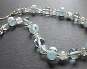 pale blue and white spotted lampwork beaded necklace