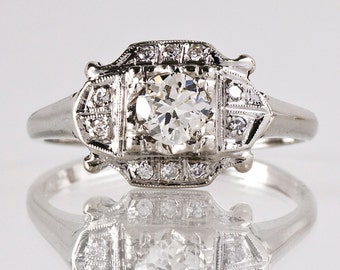 Antique Engagement Ring - Antique 1930s Art Deco 14K White Gold Diamond Engagement Ring