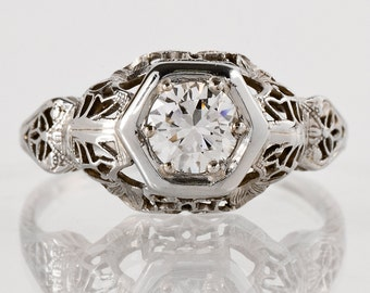 Antique Engagement Ring - Antique 1920s 18k White Gold Filigree Diamond Engagement Ring