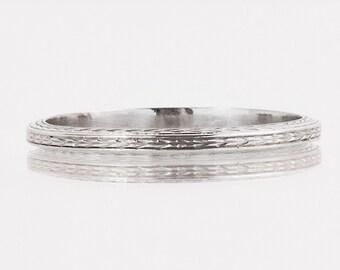 Antique Wedding Band - Antique 1920's 18k White Gold Engraved Wedding Band