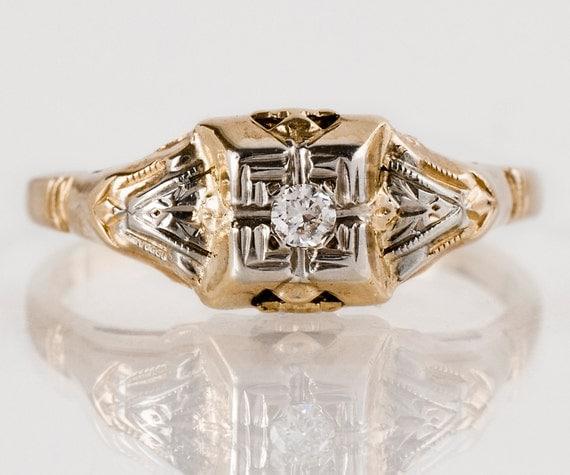 Vintage Engagement Ring - Vintage 1940s 10k Two-Tone Diamond Engagement Ring