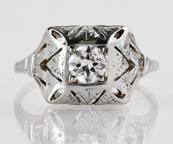 Antique Engagement Ring - Antique 1920s Art Deco 18k White Gold Diamond Engagement Ring