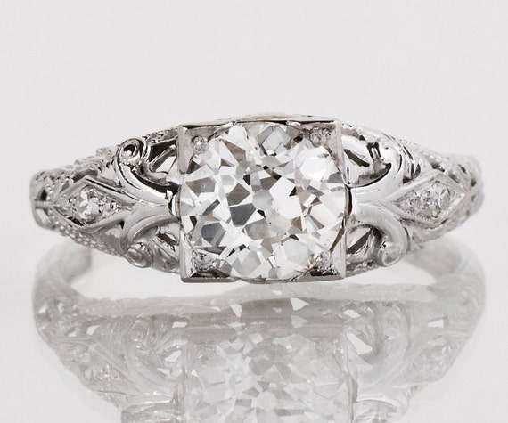 Antique Engagement Ring Antique 1920s 18k White Gold Diamond