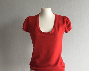 Sisley Top, Red Top, Short Sleeve Tops, Wool Top, Knit Sweater, Tops Tees, Knitted Top, Womens Knitted Pullover, Summer Top Red