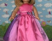 Pink, Purple, and Lavender Ombre Satin Princess Dress for 18 inch Dolls