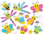 ON SALE - Flying Bugs / Insect / bee / firefly / butterfly / dragonfly Clip Art / Digital Clipart - Instant Download