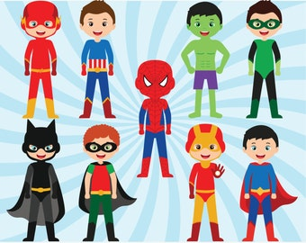 Superhero Clipart - Batman, Ironman, Superman, Flash, vector graphics, digital clip art, digital images, commercial use clipart