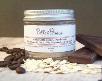 Chocolatte Cleansing Grains- Natural Facial Cleasnser- Vegan- Plant Based Organic Skin Care- 2oz