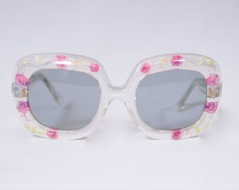 JEAN LONVERT Paris Vintage 1960s Mod Floral Carved Celluloid Sunglasses Frame // 1960s Twiggy Era Carved Lucite Acrylic Eyewear Frame