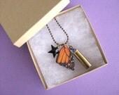 Bullet Jewelry, Butterfly, Butterfly Wing, Monarch, Black, Star, Swarovski Crystal, Bullet Shell, Necklace, Charm Necklace