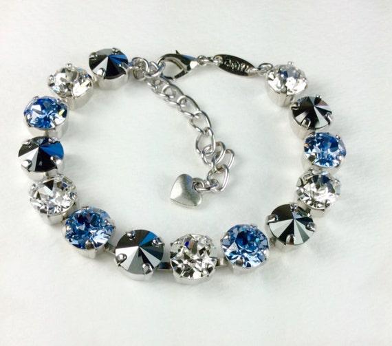 Swarovski Crystal 8.5mm Bracelet   Johnstown, PA. Colors - Lt. Blue, Crystal, & Black Diamond - Designer Inspired - FREE SHIPPING