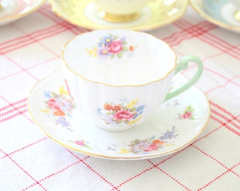 Vintage English Fine Bone China Shelley, Ludlow Shape Teacup and Saucer, Replacement China, Wedding Gift  c. 1938 - 1966