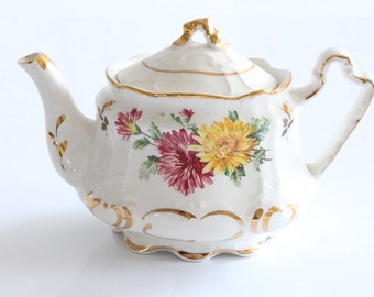 Antique Teapot by Arthur Wood, English Bone China, Gifts for Her, Replacement China, Tea Party - c. 1904+