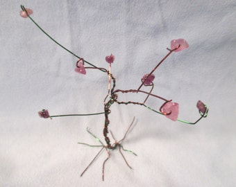 Tree of New Growth - Infinite Forest Tree Wire Sculpture - OOAK Handmade - Crystal Chip Purple Amethyst Green Brown - Dee's Transformations
