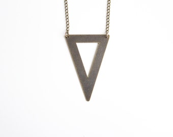 Triangle Necklace | Antique Brass plated Geometric Necklace