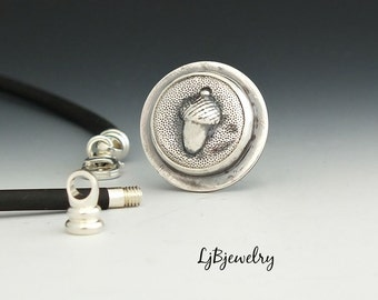 Silver Pendant, Acorn Pendant, Sterling Silver, Black Necklace, Metalsmith Jewelry, Handmade Jewelry