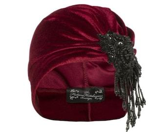 Vivien Asymmetrical Velvet Turban in Red