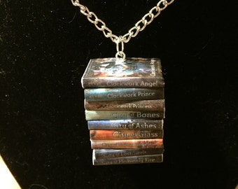 Mortal Instruments/Infernal Devices Mini Book Stack Necklace