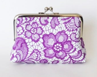 CLUTCH in Purple print lace - LARGE
