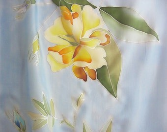 Silk scarf hand painted floral sky blue wearable art - ready to ship
