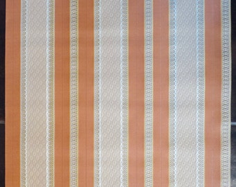 Vintage WALL PAPER by the YARD, Embossed Wallpaper from the 80s. Striped Pattern in Orange, Beige and Yellow.