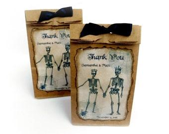 Halloween Wedding Favor Bags, Custom Favor Bags, Skeletons, Spooky Wedding Favors, Personalized, Kraft Favor Bags, Goth Wedding Favors