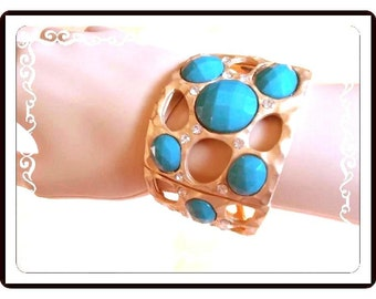 Mod Abstract Cuff Bracelet - Retro 1990's Era Design with Plastic Faceted Cabochons & Clear Sparkling Rhinestones - Brac-1157a-112614030