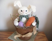 Primitive Easter Bunny In A Rusty Bucket Spring Decor
