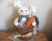 Primitive Easter Bunny In A Rusty Bucket Spring Decor